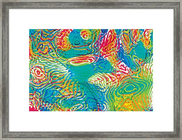 Primary Ripples Tropical Framed Print