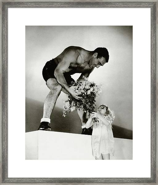 Primo Carnera Receiving Flowers From A Little Framed Print