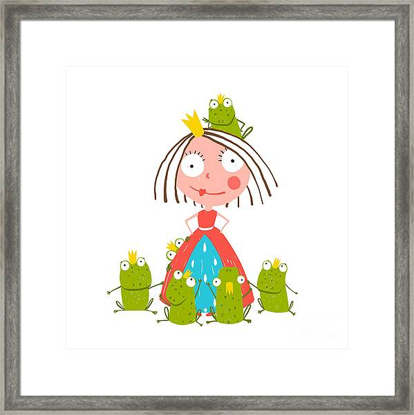 Princess And Many Prince Frogs Portrait Framed Print