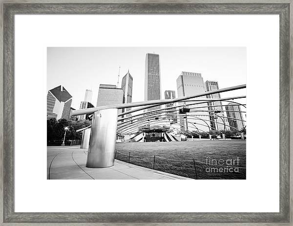 Pritzker Pavilion Chicago Black And White Picture Framed Print