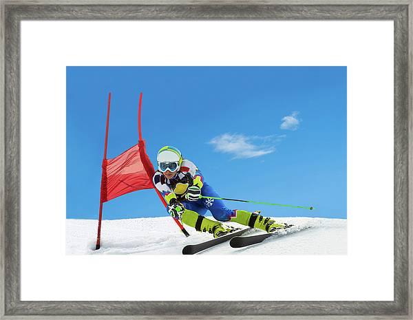 Professional Female Ski Competitor At Framed Print