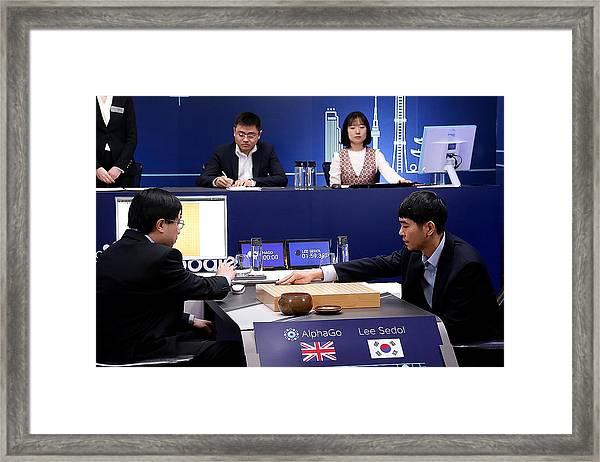 Professional 'go' Player Lee Se-dol Plays Google's Alphago - Last Day Framed Print by Handout