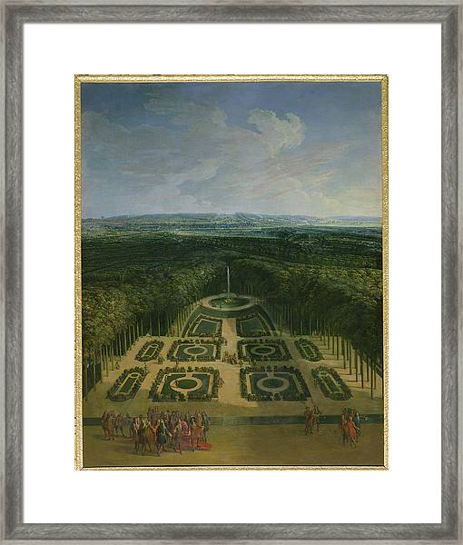 Promenade Of Louis Xiv 1638-1715 In The Gardens Of The Grand Trianon, 1713 Oil On Canvas Framed Print