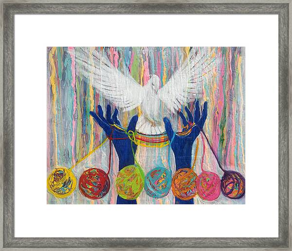 Prophetic Message Sketch 20 What Woman Will Rise Up    Yarn Hands Woven Nest Or Bridge For Dove  Framed Print