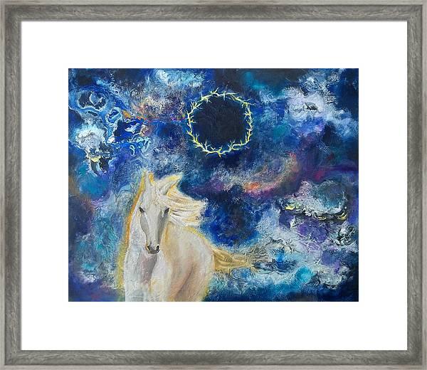 Prophetic Message Sketch Painting 6 Ring Of Lightning White Horse Framed Print