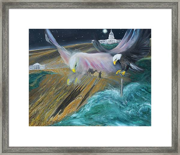 Prophetic Ms 36 Two Eagles Camel Through Eye Of Needle Parable Framed Print