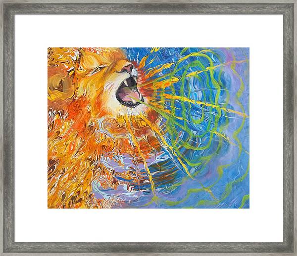 Prophetic Sketch Painting 25 Lion Of Judah Awakens With A Roar Framed Print