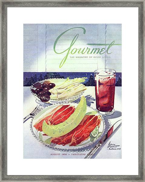 Prosciutto, Melon, Olives, Celery And A Glass Framed Print