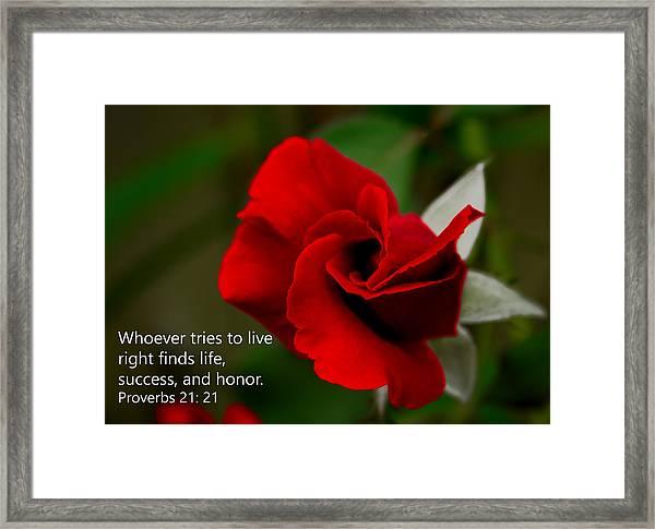 Proverbs 21- 21 Framed Print