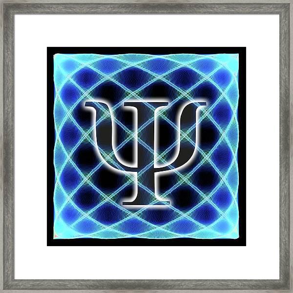 Psi Symbol And Artwork Of A Wavefunction Framed Print