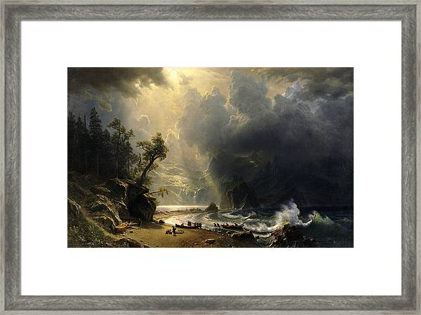 Framed Print featuring the painting Puget Sound On The Pacific Coast by Albert Bierstadt