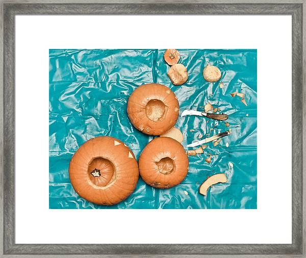 Pumpkin Carving Framed Print