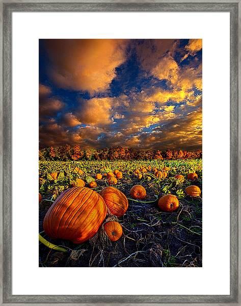 Pumpkin Crossing Framed Print