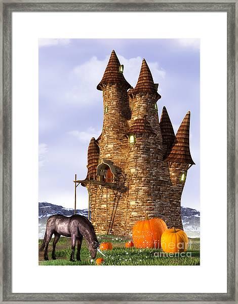 Pumpkin Patch Unicorn Framed Print