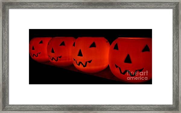 Pumpkins Lined Up Framed Print