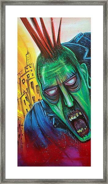 Punk Rock Zombie Framed Print by Laura Barbosa