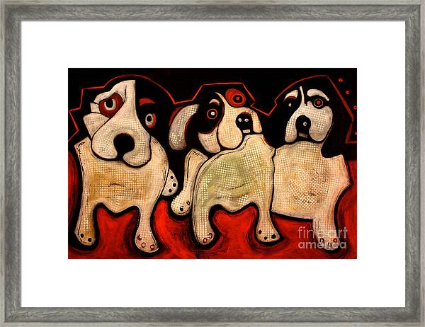 Puppies In A Row Framed Print