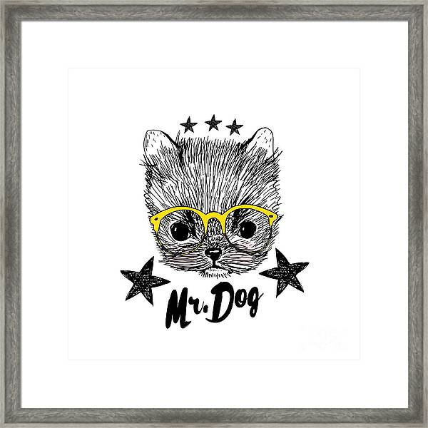 Puppy And Yellow Glasses Illustration Framed Print by Shekaka
