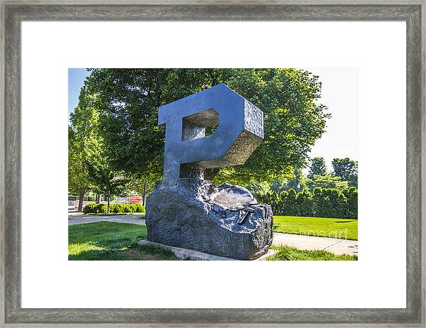Purdue University Block P Project Statue Framed Print