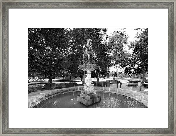 Purdue University Fountain Framed Print