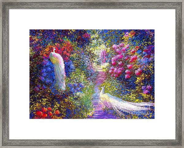 White Peacocks, Pure Bliss Framed Print