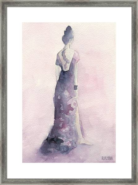 Purple And Pink Evening Dress Watecolor Fashion Illustration Framed Print by Beverly Brown