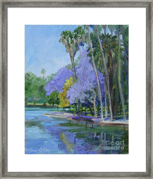Purple And Yellow Blossoms Framed Print