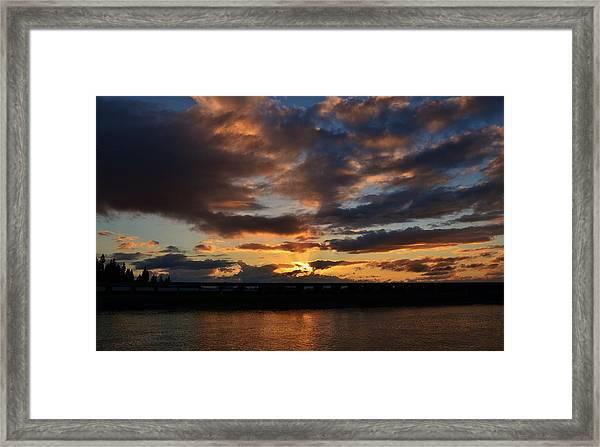 Purple Clouds Sunset  Framed Print