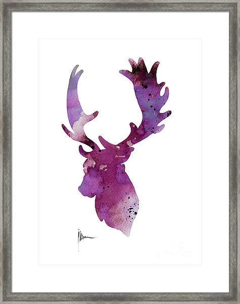 Purple Deer Head Silhouette Watercolor Artwork Framed Print