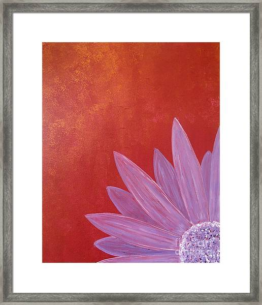 Purple Flower - Red Metallic Background Framed Print