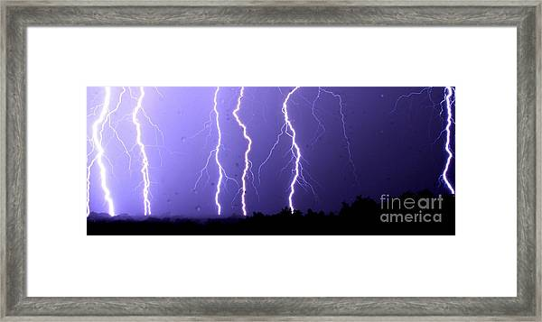Purple Rain Lightning Framed Print