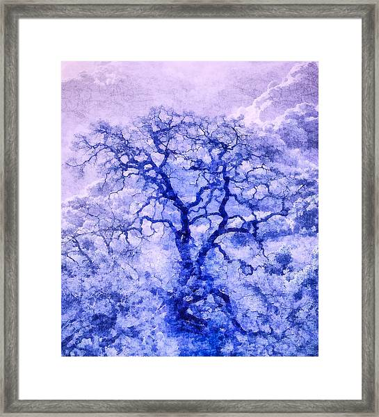 Framed Print featuring the digital art Purple Oak Tree Dream  by Priya Ghose