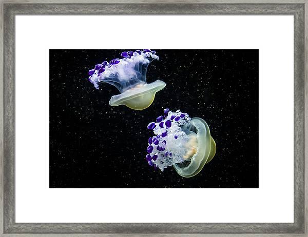 Purple Spaceships Framed Print