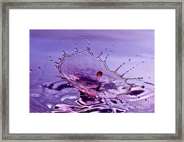 Purple Water Splash Framed Print