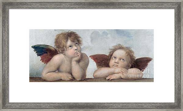 Putti Detail From The Sistine Madonna Framed Print