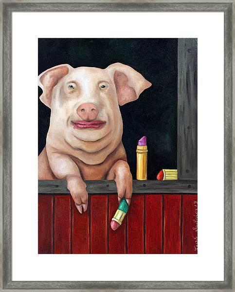 Putting Lipstick On A Pig Framed Print