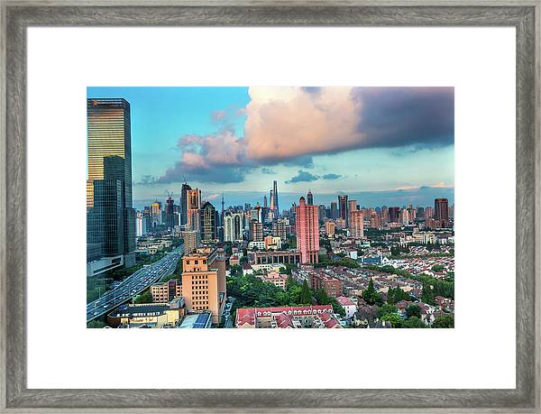 Puxi Pudong Buildings World Modern Framed Print by William Perry