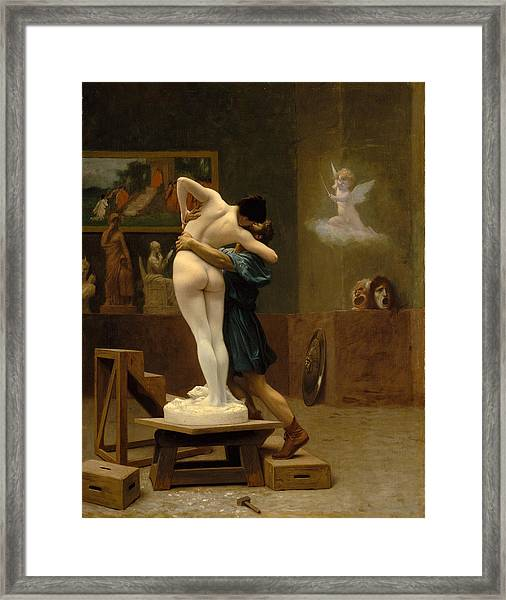 Framed Print featuring the painting Pygmalion And Galatea by Jean-Leon Gerome