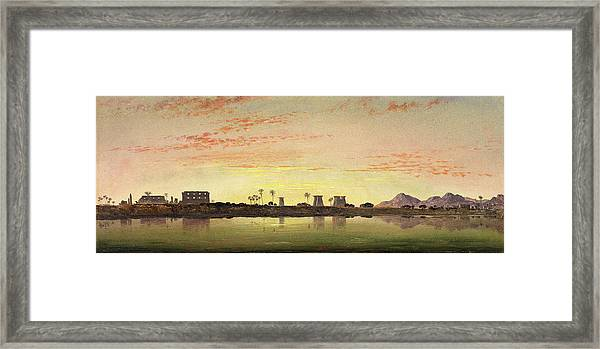 Pylons At Karnak, The Theban Mountains In The Distance Framed Print by Litz Collection