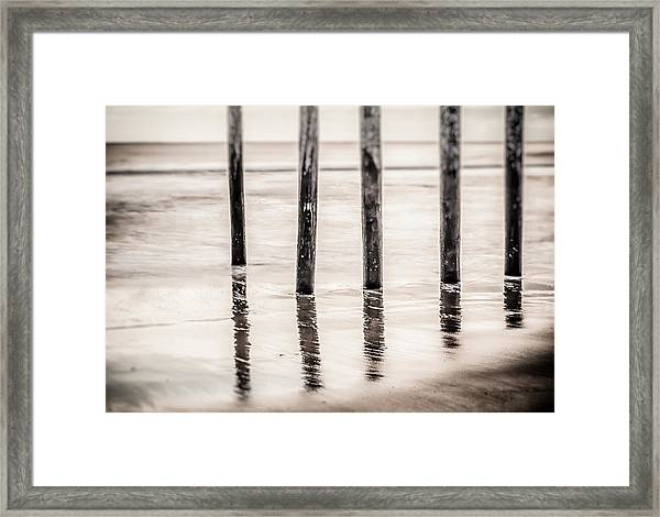 Pylons In Black And White Framed Print