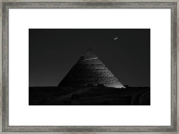 Pyramid At Night Framed Print by Vincent Chen