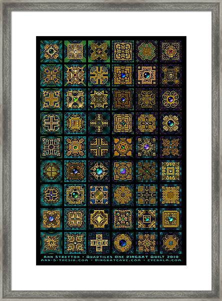 Quadtiles One Dingbat Quilt Framed Print