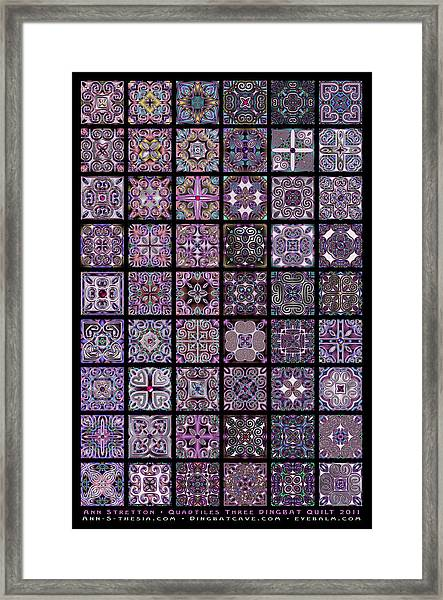 Quadtiles Three Dingbat Quilt Framed Print