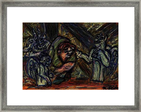 Quasimodo With Gargoyles Framed Print