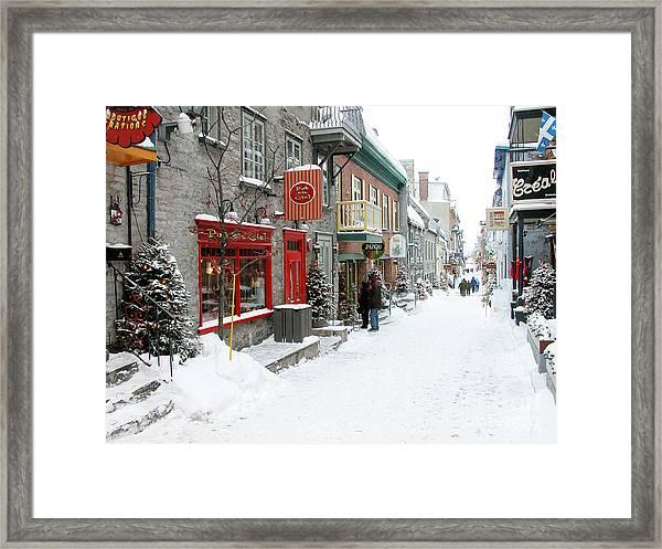 Quebec City In Winter Framed Print