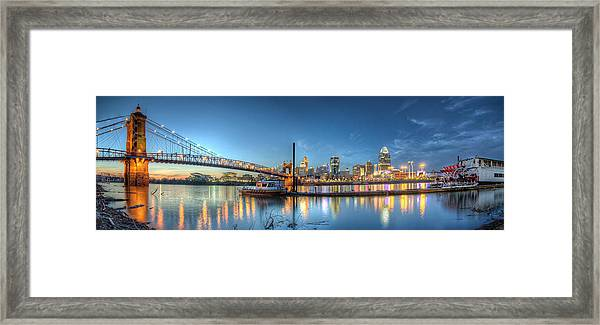 Queen City Panorama At Twilight Framed Print
