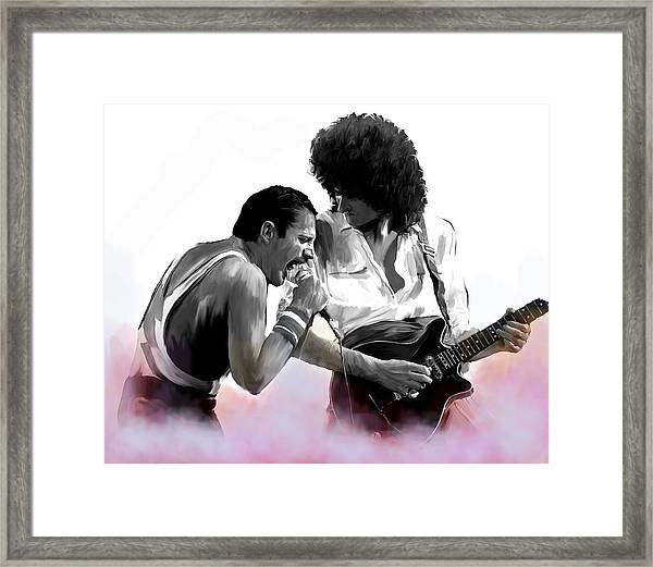 Queen II  Freddie Mercury And Brian May Framed Print