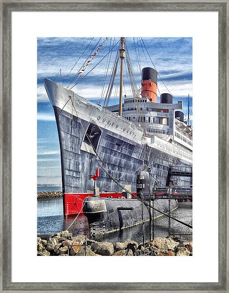 Queen Mary In Long Beach Framed Print