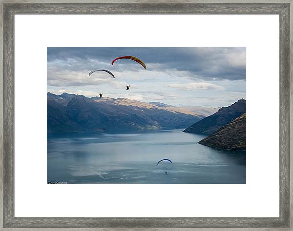 Queenstown Paragliders Framed Print