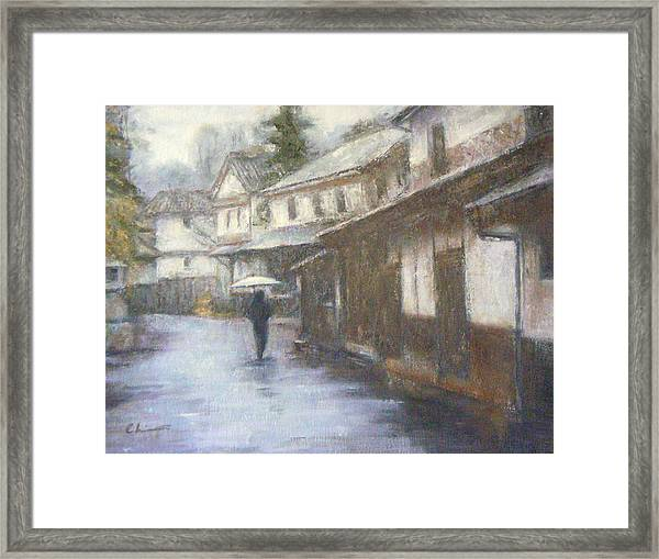 Quiet Rain - Japan Framed Print by Chisho Maas